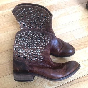 Vintage Leather Studded Ankle Boots